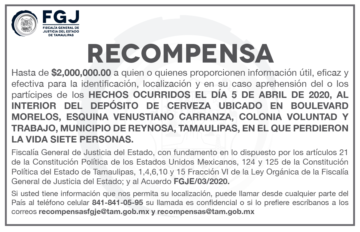 RECOMPENSA 5 ABRIL 2020