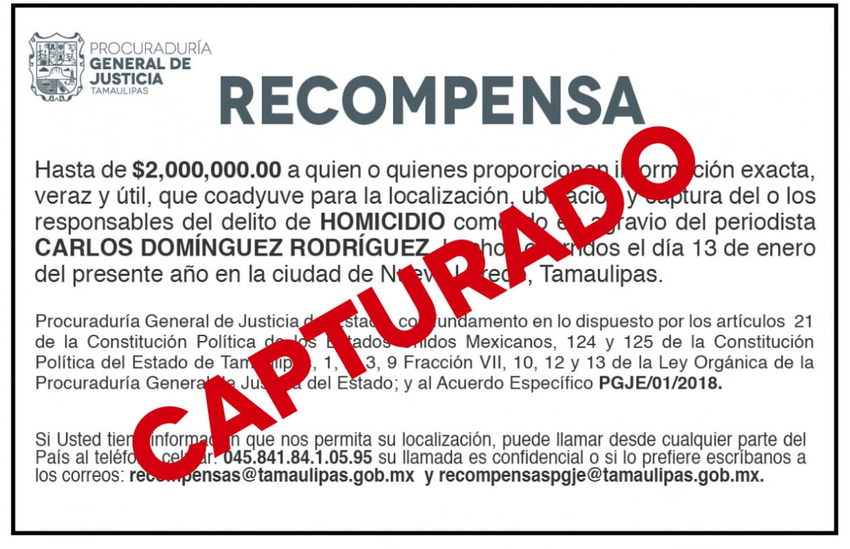 Recompensa Carlos Dominguez